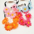 Cute 5 Daisy Flower Headband w/ Elastic Back .52 ea