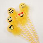 Yellow Sequin Ball Emoji Face Pens 12 per pk @ .53 ea