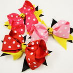 "5"" Layered Multi Ribbon Gator Clip Bows w/ Poka Dots   .54 ea"