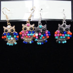 SO CUTE Cast Owl Earrings w/ Colored Beads .54 ea