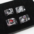 CLOSEOUT Shiney Clear Lucite Ring w/ Stone 10 per pk @ .25 ea