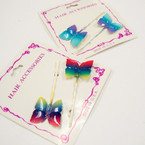 CLOSEOUT Gradiant Color Butterfly Bobbie Pin Set .16 per set