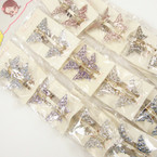 CLOSEOUT 2 pk Sparkle Butterfly Hair Clips 12-2 pks for $ 2.00