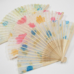 "REDUCED 8"" Oriental Wood Fans 11per pk @ .33 ea"