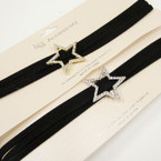 Trending Triple Suede Cord Choker Necklace w/ Gold/Silver Cry. Stone Star  .54 ea