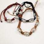Browntones & Black  Macrame Bracelet w/ Cast Silver Turtles .54 ea