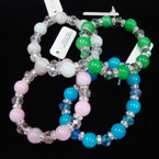 Glass & Crystal Beaded Stretch Bracelet Mixed Colors .54 ea