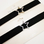 Popular Velvet Choker Necklace w/ Gold/Silver Cry. Stone Star .54 ea