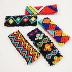 "1"" Wide Handmade Seed Beaded Stretch Bracelets 6 styles .54 ea"