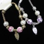Magnetic Pandora Style  Bracelet w/Pearl,Ceramic Bead &  Owl Charm .56 ea
