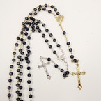 "36"" Black Transparent Beaded Rosary w/ Gold/Silver Crucifix .54 ea"
