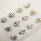 Gold & Silver  Fashion Ring w/ Crystal Stones  .54 per set
