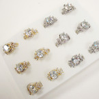 Gold & Silver Fashion Ring w/ Oval Crystal Stones  .54 per set