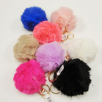 "Great Selling 3"" Pom Pom Faux Fur Keychain/Purse Charm .58 ea"