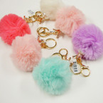 "3"" Pom Pom Faux Fur Keychain/Purse Charm w/ Gold Crown & Pearl .75 ea"