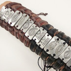 4 Style MIx  JESUS & Cross Leather Bracelets .54 ea
