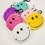 """4"""" Smile Face Velveteen Coin Purses .54 ea"""