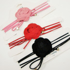 4 Strand Suede Cord Choker Necklace w/ Lg. Flower .54 ea