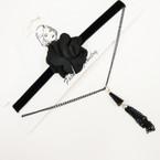 Trendy Blk Choker w/ Black Flower Black Chain w/ Tassel .54 ea