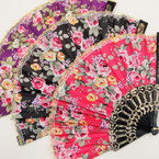 "9"" Black Handle Fabric Lace Fan w/ Flower Print Gold Edge  12 per pk  .54 ea"