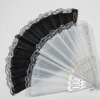 "9"" Plain Blk & White Fabric Lace Fan   12 per pk  .52 ea"