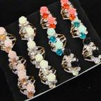Elegant Crystal Stone & Flower  Fashion  Ring  .54 per