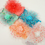 "2.5"" Crochet Headwrap w/ 4"" Chiffon Heart Pattern Bow .54 ea"
