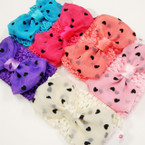 "2.5"" Crochet Headwrap w/ 4.5"" Chiffon Heart Pattern Bow .54 ea"