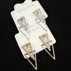 Classy Gold & Silver Crystal Stone Triangle Earrings .54 ea