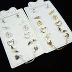 6 Pair Gold & Silver Stud Earrings .50 ea set