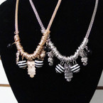 Fancy Gold & Silver Chain Necklace w/ Owl Charms .58 ea