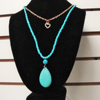 "20"" Layered Turquoise Bead & Chain Necklace w/ DBL Pendants .56 ea"