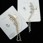 Gold & Silver Rhinestone Dangle Ear Cuff Set  .54 ea set