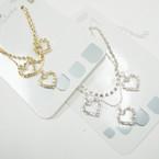 Gold Chain & Rhinestone Anklets w/ Triple Rhinestone Hearts .56 ea