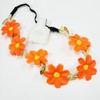 POPULAR 6  Pc Flower Headband w/ Elastic Back Asst Colors .54 ea