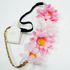 POPULAR 4  Pc Two Tone Flower Headband w/ Elastic Back  .54 ea