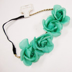"4  Pc 2"" Solid  Flower Headband w/ Elastic Back & Gold Cord  .54 ea"