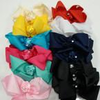 """6"""" Mixed Color Gator Clip Bows w/ Satin Flower Center .54 ea"""