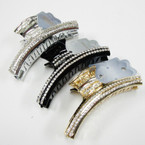 """3.5"""" GOld,Silver,Blk Fashion Jaw Clips w/ Clear Crystal Stones .54 ea"""