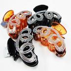 "3.5"" Swirl Style Fashion Jaw Clips w/ Clear & AB Crystal Stones   .56 ea"