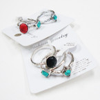 3 Pack Southwest Look Fashion Rings w/ Stones .54 per set