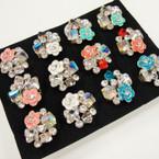 Elegant Cluster Crystal Stone & Flower  Fashion  Ring  .54 ea