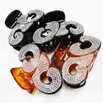 "3.5"" Fancy Fashion Jaw Clips w/ Clear & AB Crystal Stones   .56 ea"
