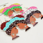 "2.5"" Colorful Fashion Wood  Lady Earrings w/ Cut Out Africa Map  .54 ea"