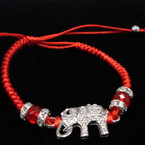 Cast Silver Crystal Stone Elephant   Red Cord Bracelets .54 ea