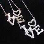 """20"""" Gold & Silver Chain Necklace w/ Cry. Stone LOVE Pendant .54 ea"""