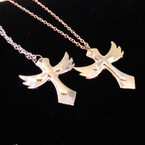 "20"" Gold & Silver Chain Necklace w/ Two Tone Wing Cross .54 ea"