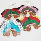 "2.75"" Colorful Fashion Wood Lady Earrings Cutout Style .54 ea"