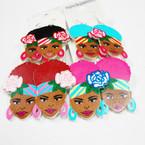 "2.5"" Colorful Fashion  Wood Lady Earrings Striped Headwrap  .54 ea"