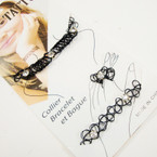 3 Pc  Black Nylon Choker Set w/ Crystal Stones .54 per set